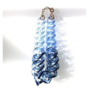 J Crew Blue Squared Lucite Necklace